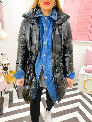 MIDI PUFFER COAT IN BLACK WITH DENIM SHIRT INSERT