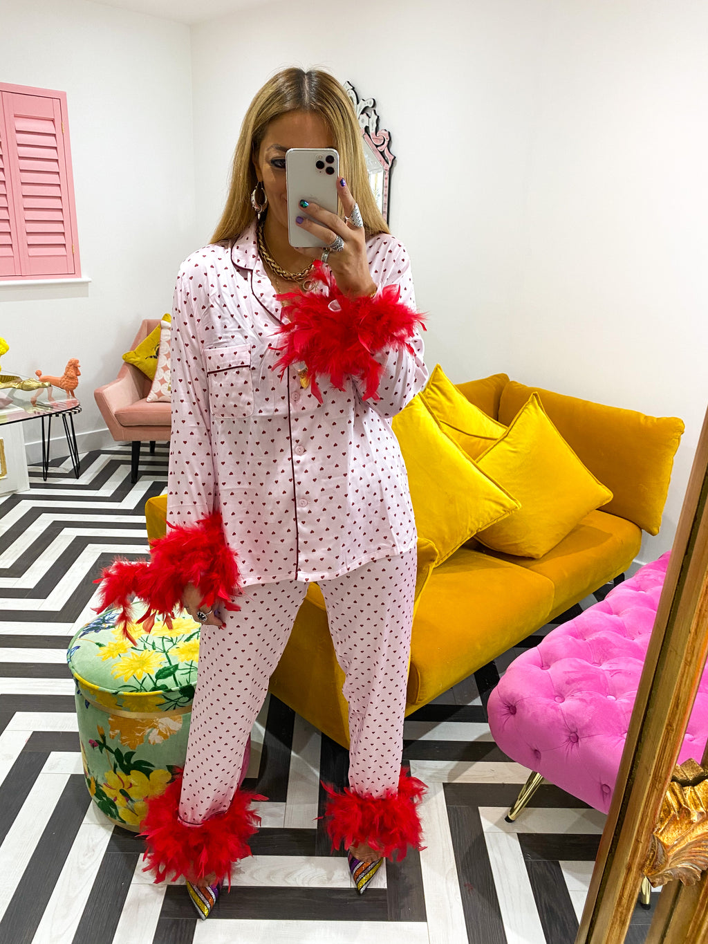 RED HEART FEATHER CUFF PJ'S IN PINK