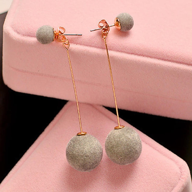 Artificial Hair Ball Dangle Earrings