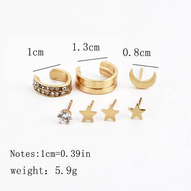 7Pcs/set Star Moon Clip on Earrings
