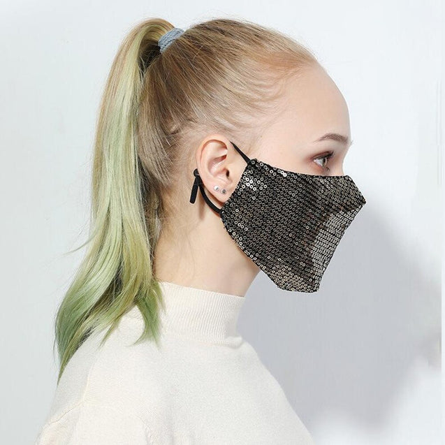 Fashion Sequin Mask Cotton Anti-Haze Breathable Mouth Respirator Washable Face Mask