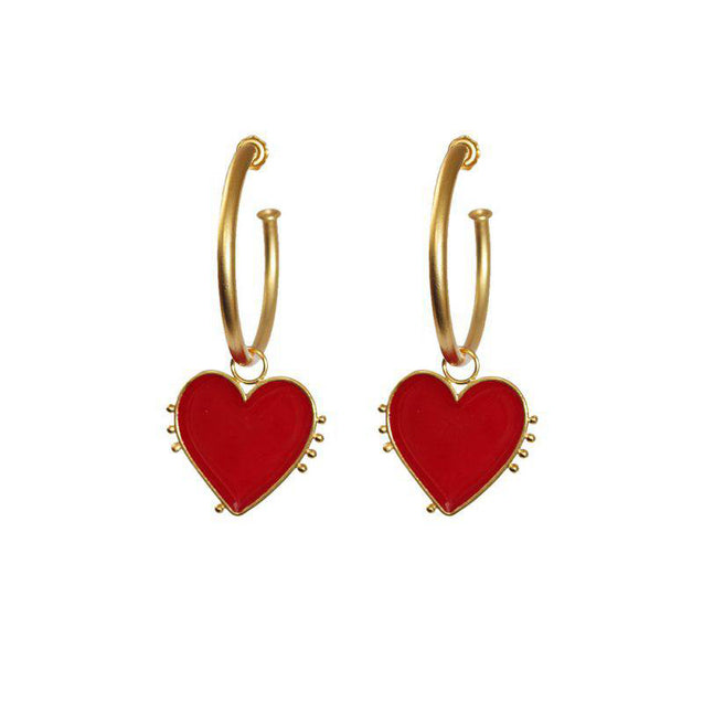 Vintage Heart Hoop Earrings