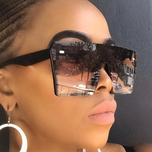 Oversize Square Sunglasses Women Fashion Flat Top