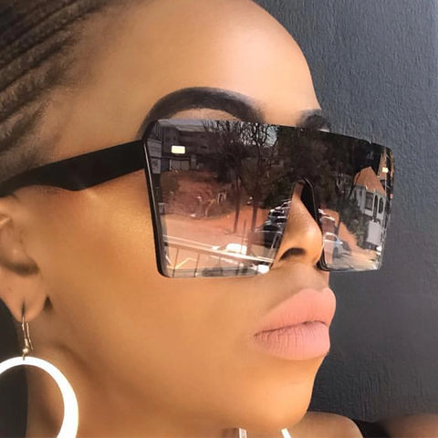 Image of Oversize Square Sunglasses Women Fashion Flat Top