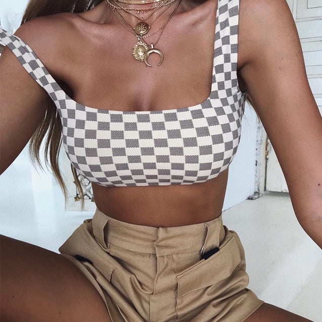 Rushed Slim Crop Top Women Plaid Summer Top