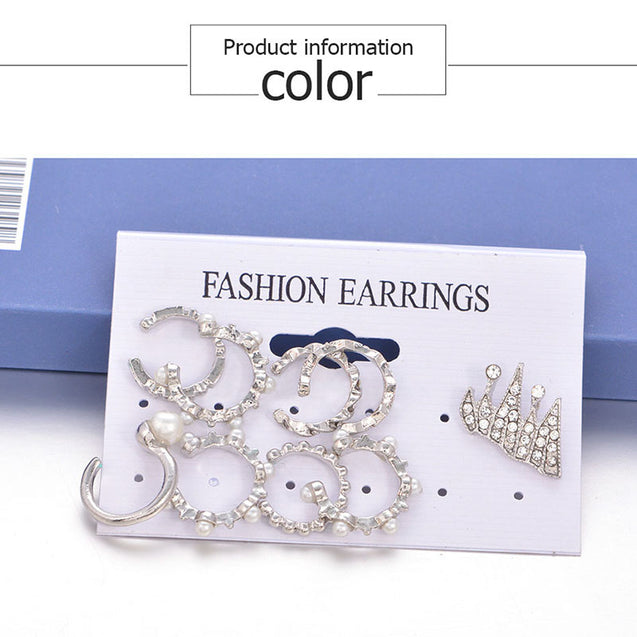9pcs/Set Simulated Pearl Crystal Cuff Earrings For Women Bohemian Clip on Earrings