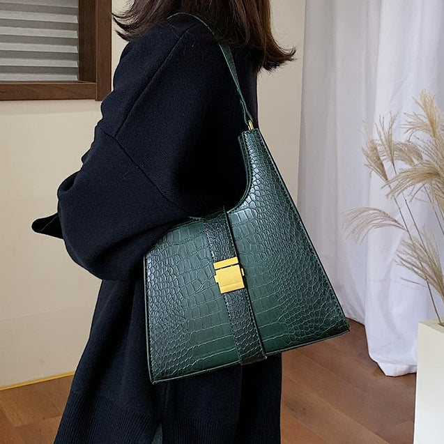 Crocodile Pattern PU Leather Shoulder Bags For Women