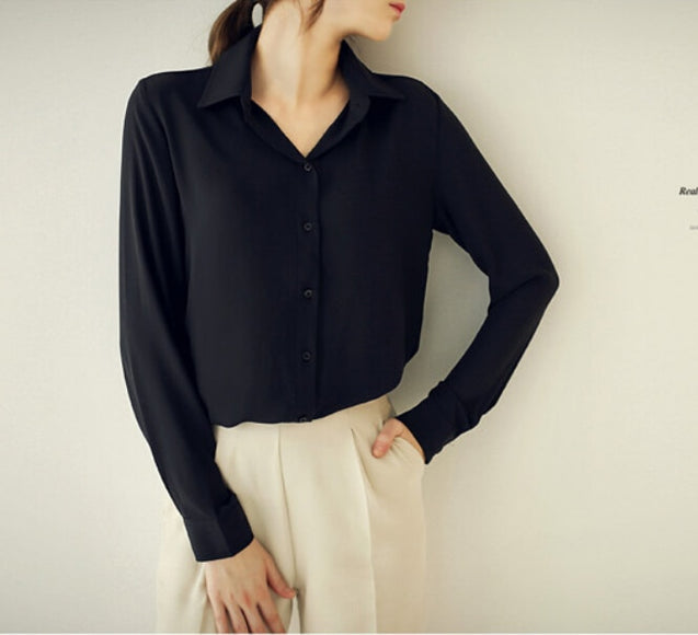 Chiffon Turn-Down Collar Elegant Blouse