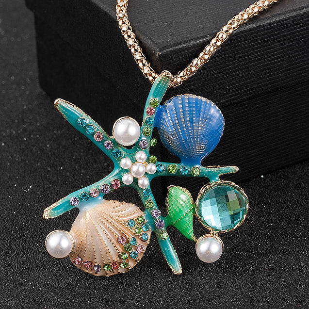 White Pearl Blue Enamel Crystal Shell Conch Starfish Pendant Long Necklace