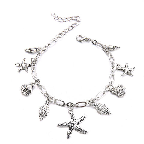 Image of Bohemian Starfish & Shells Charm Anklet