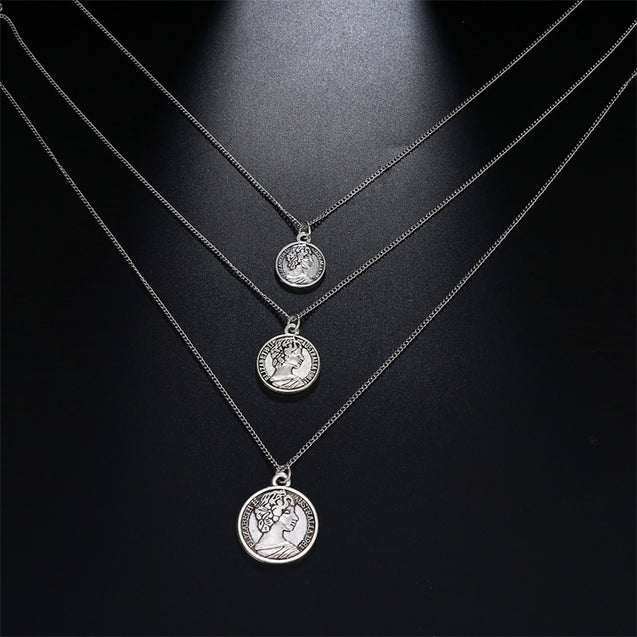 Boho Multiple Layers Coin Necklace Medallion Necklace For Women