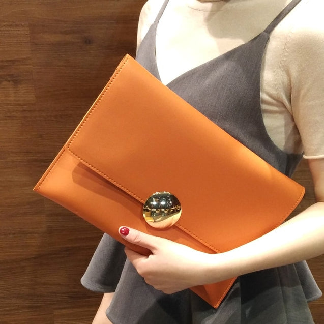 Female PU Leather Envelope Clutch Bags