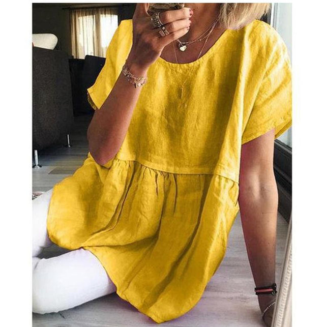 Casual Solid Cotton Linen Short Sleeve A Line Blouses