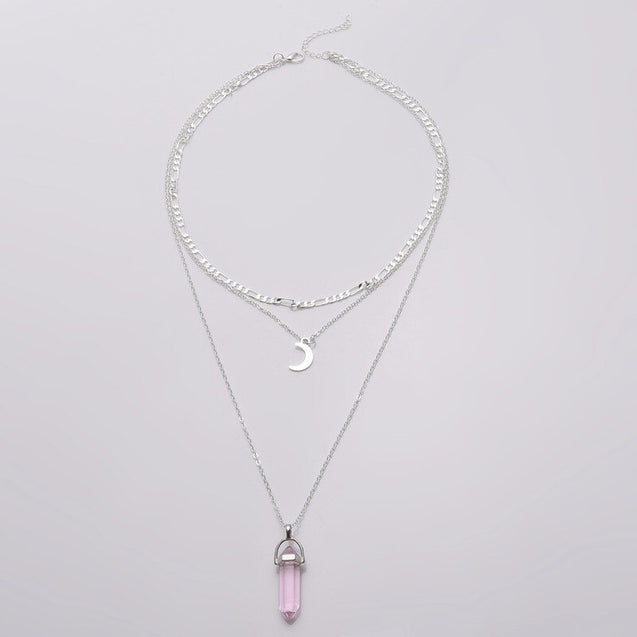Pink Crystal Necklace Multilayer Women Necklaces