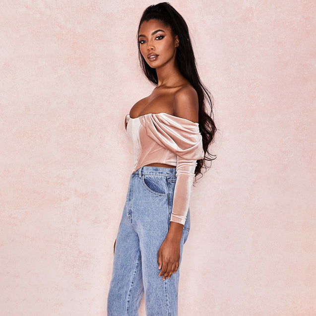 Elegant Pink Ruched Crop Top