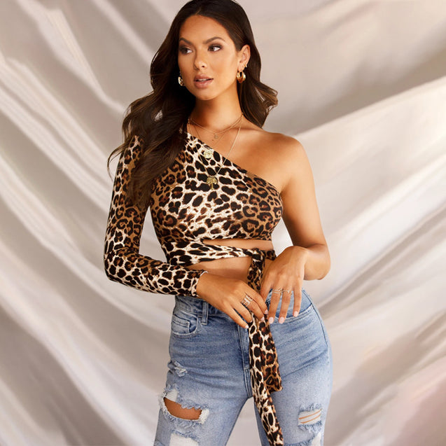 One Shoulder  Hollow out Leopard Print Crop Top