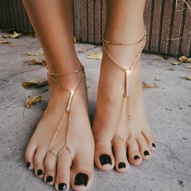 Crystal Anklet Chain Bracelet Wome Barefoot Sandal Toe Ring Beach Foot Jewelry X