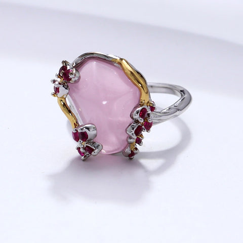 Triangle Pink Zirconia Rings for Women