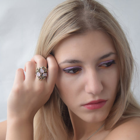 Stunning CZ Rings for Women Pink Opal Stone Ring
