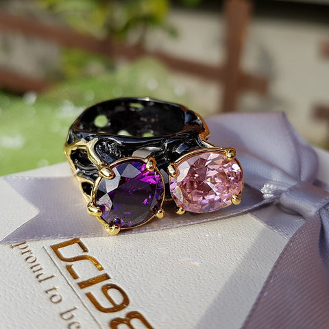 Big CZ Solitaire Jewelry Vintage Black & Gold Color Women Rings