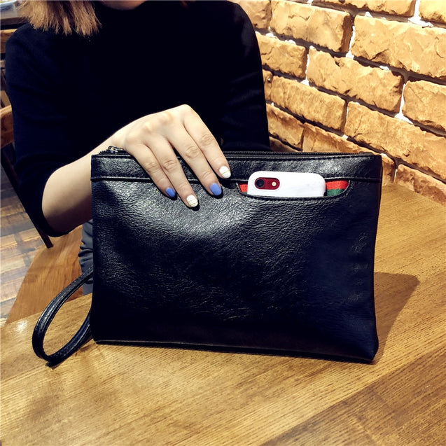 Women Black Leather Clutch Bags