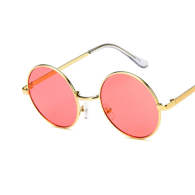 Women's Round Sunglasses With Metal Frame Pink Yellow Lens