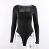 Long Sleeve Square Neck Sheath Bodysuit
