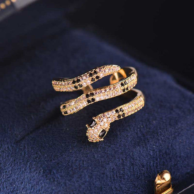 Sparkling Multilayer Curved Snake Ring