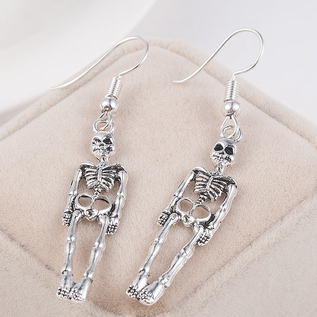 Vintage Halloween Skull Dangle Earrings