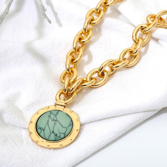 Green Stone Pendant Necklace Statement Gold Color Heavy Long Chain Necklace for Women