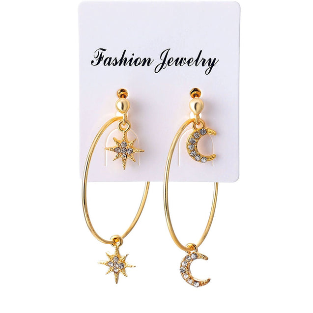 4 Pcs/Set Stars Moon Earrings Set for Woman