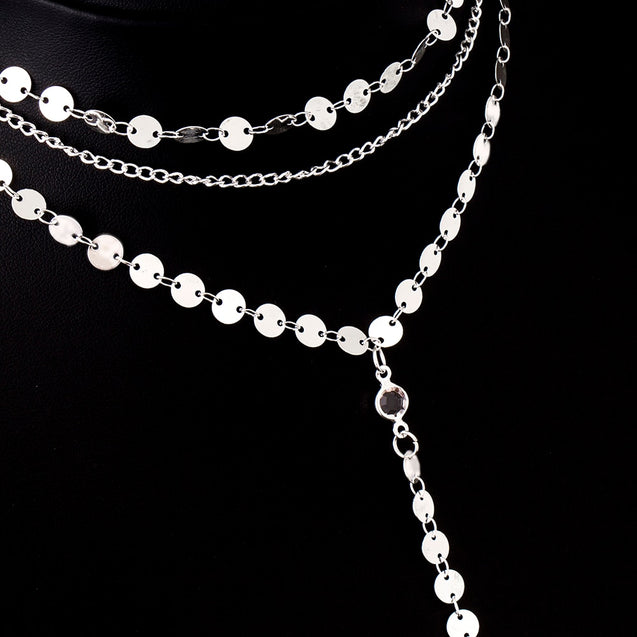 Sequins Rhinestone Choker Necklace Women Long Chain Necklace