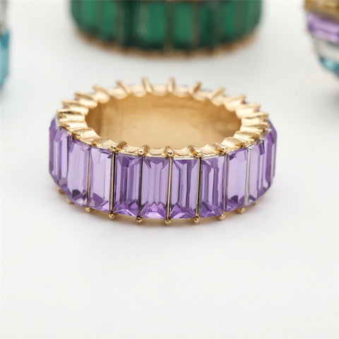 Luxury Colorful Round Crystal Ring for Women