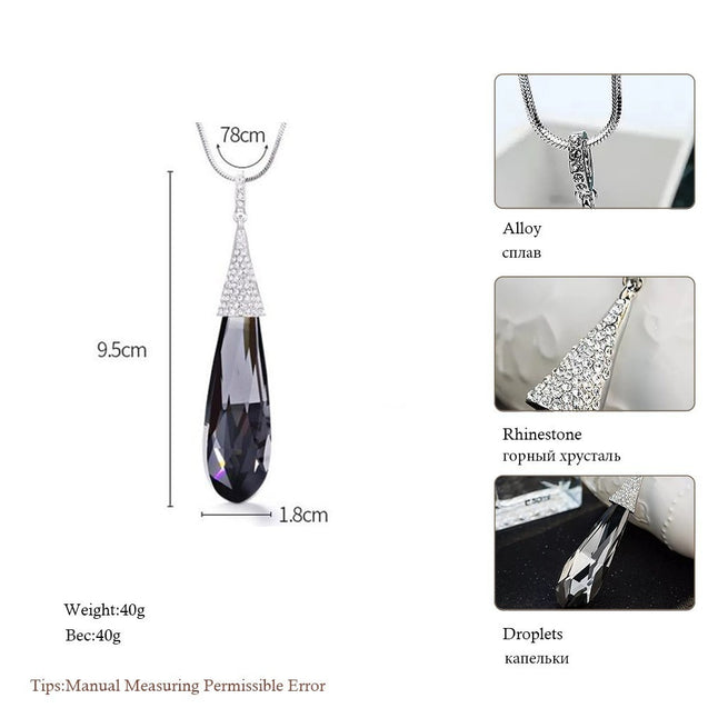 Long Teardrop Crystal Tassel Necklace