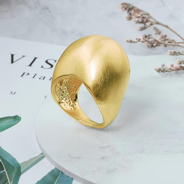 Big Chunky Cocktail Ring Fashion Jewelry Ball Shape Yellow Ring for Women