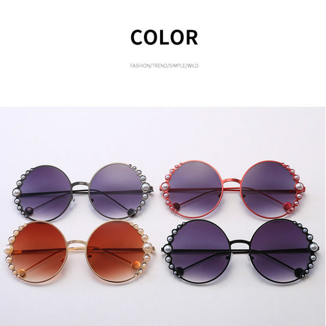 Round Pearl Sunglasses Women