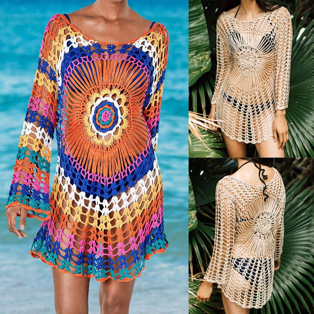 Women Rainbow Knit Cover Up