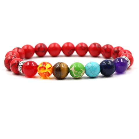 Image of Seven Color Chakra Stone Beaded Bracelet