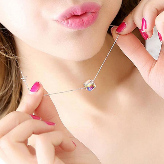 Crystal Cube Necklace For Women Collares
