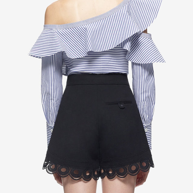 One Shoulder Ruffles Striped  Blouse