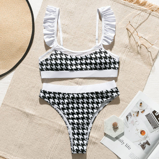 High Waist Swimsuit Women's Plaid Mesh Bikini Set