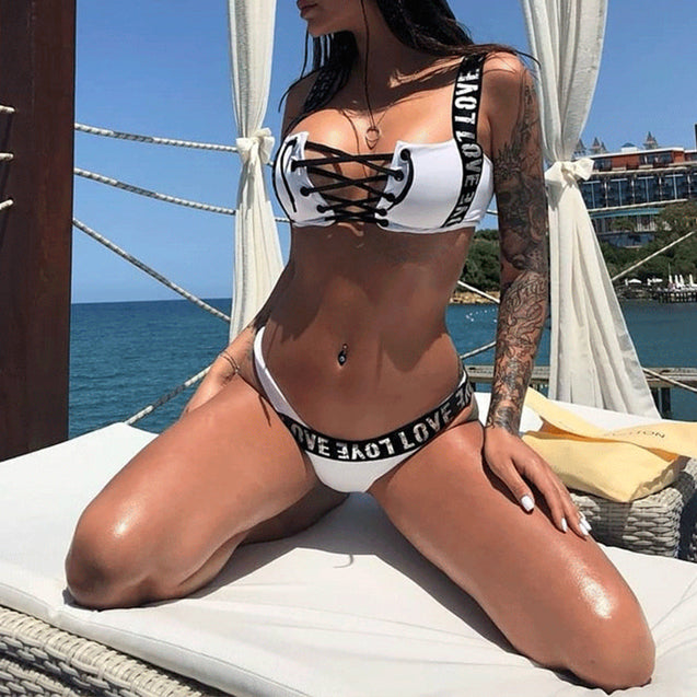 Lace-up Bikini Letter Print Swimsuit Bikini Set