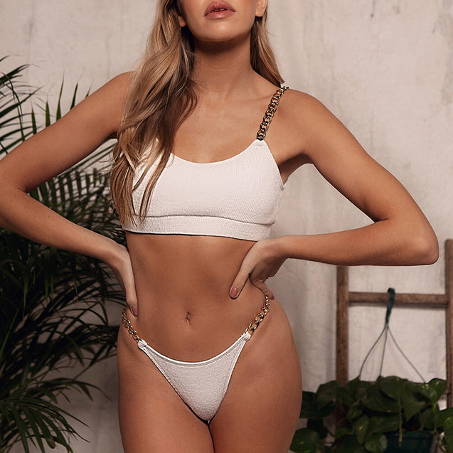 Bandeau Bikini Set With Chain