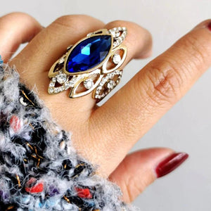 Luxury African Style Blue Cubic Zircon Big Shuttle Ring For Women