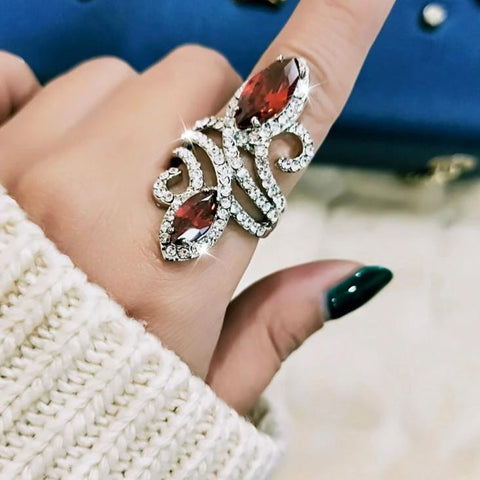 Luxury Long Red Crystal Ring For Women