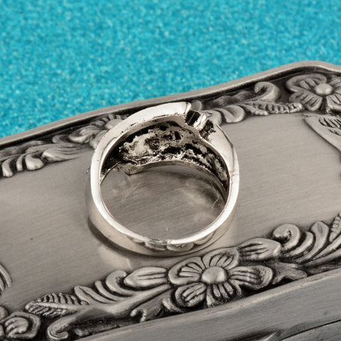 Image of Women Black Cubic Zirconia Ring In Antique Silver Color