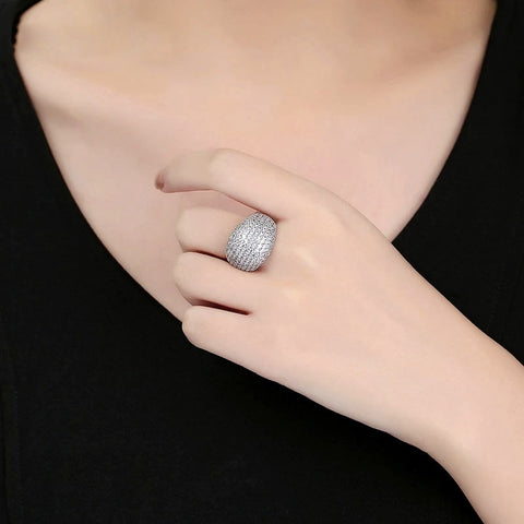 Stunning Sparkling Crystal Cocktail Ring Available in Blue & Silver