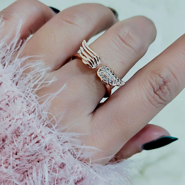 Unique Tiny Crystal Angel Wing Ring