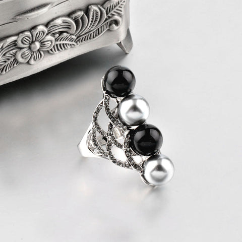 Black Acrylic Ball With Gray Simulated Pearl Long Cocktail Ring