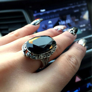 Vintage Big Black Oval Stone Rings For Women